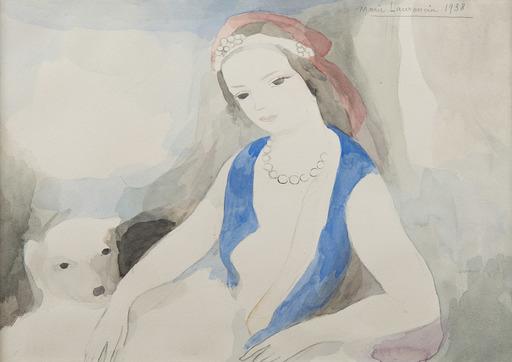 Marie LAURENCIN - Zeichnung Aquarell - Jeune fille au chien
