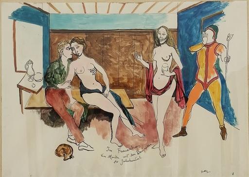 Renato GUTTUSO - Disegno Acquarello - Im Frauenhaus Vom Meister mit den Baudrollen XV Jahrundert