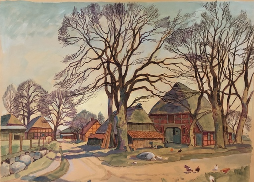 Paul WENDT - Dibujo Acuarela - Quarrendorf in der Nordheide