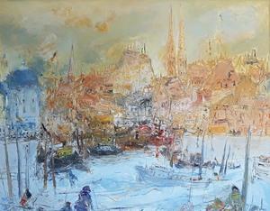 Jean FUSARO - 绘画 - L'incendie du port d'Ostende