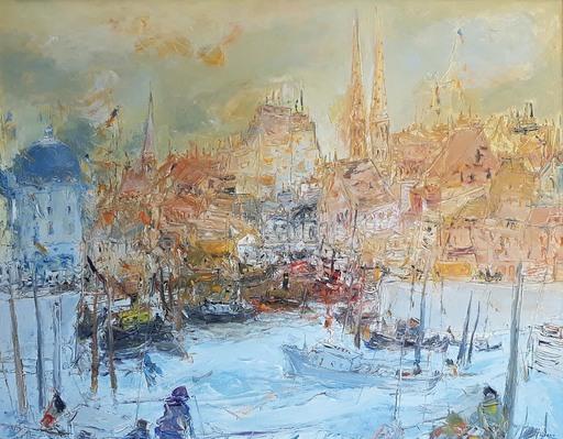Jean FUSARO - Pintura - L'incendie du port d'Ostende