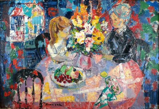 Emilio GRAU-SALA - Gemälde - Interieur aux Fleurs Jaunes