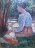 Maximilien LUCE - Painting - FEMME ET SON CHIEN AU BORD DE L EAU 1905