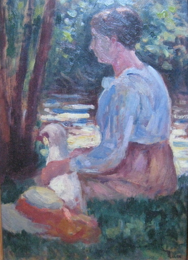 马克西米·卢斯 - 绘画 - FEMME ET SON CHIEN AU BORD DE L EAU 1905