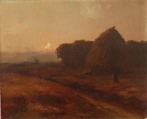 Henri LEROLLE - Painting - glaneuse au crépuscule