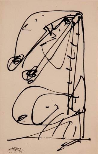Antonio SAURA - Disegno Acquarello - Dama