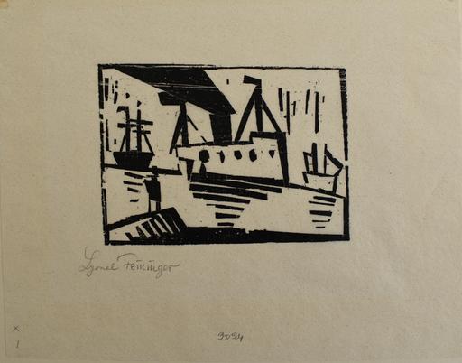 Lyonel FEININGER - Grabado - Ships [with Man on a Pier]
