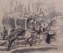 Jules PASCIN - Disegno Acquarello - Afternoon in Cuba