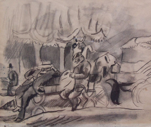Jules PASCIN - Dibujo Acuarela - Afternoon in Cuba