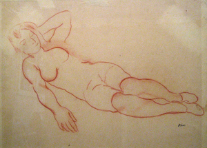 Georges KARS - Zeichnung Aquarell - Reclining Nude with Left Arm Raised