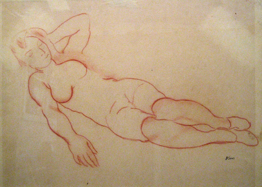 Georges KARS - Dibujo Acuarela - Reclining Nude with Left Arm Raised