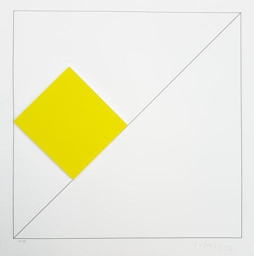 Gottfried HONEGGER - Estampe-Multiple - Composition 1 carré 3D (jaune)