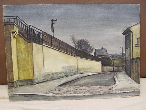 Walter KOHLHOFF - Disegno Acquarello - Strasse am Bahndamm mit Signal
