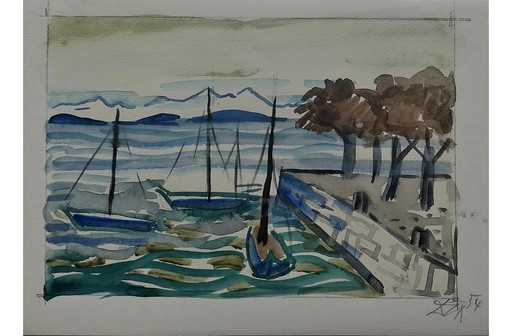 Otto DIX - Drawing-Watercolor - Schiffe im Hafen am Bodensee