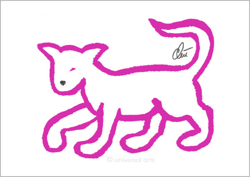 "Jacqueline DITT - Estampe-Multiple - ""Pink Cat"" (Rosa Katze)"