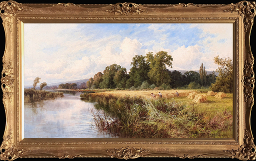 Henry H. PARKER - Pittura - Harvesting on the Banks of the Thames, Great Marlow