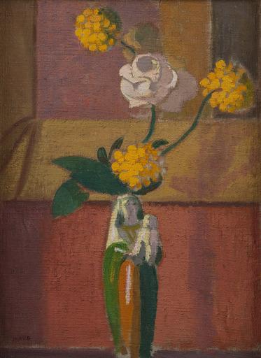 Maurice DENIS - Peinture - Rose blanche dans un vase en forme de Vierge