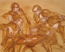 Claude WEISBUCH - Peinture - LA PARTIE DE CARTES
