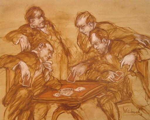 Claude WEISBUCH - Painting - LA PARTIE DE CARTES