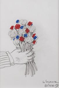 Fernando BOTERO - Drawing-Watercolor - Bouquet de fleurs