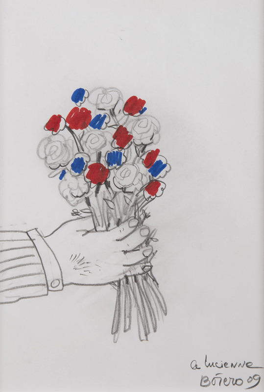 Fernando BOTERO - Dessin-Aquarelle - Bouquet de fleurs