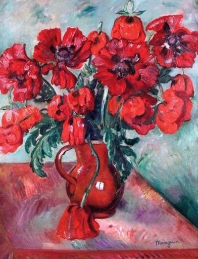 Henri MANGUIN - Pintura - Grand vase de pavots