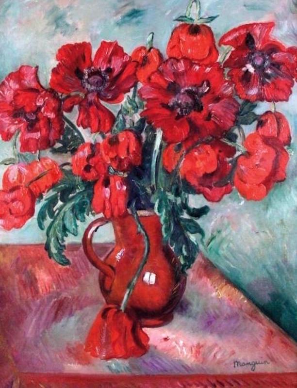 Henri MANGUIN - Peinture - Grand vase de pavots
