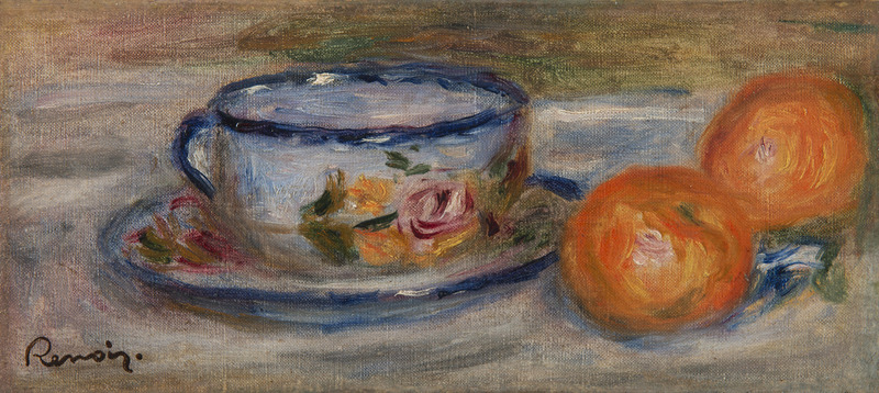 Pierre-Auguste RENOIR - Painting - Nature morte à la tasse de thé et aux oranges - Deux oranges