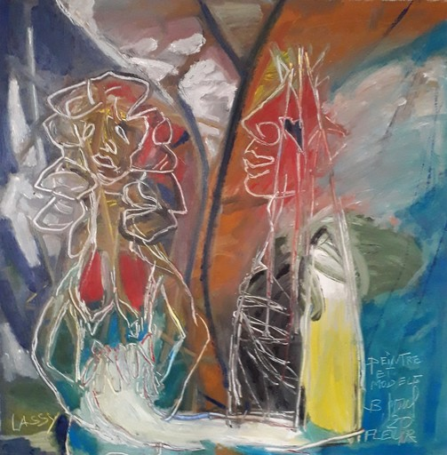 Bernard MOREL - Pintura - PEINTRE ET MODELE...FLEUR.