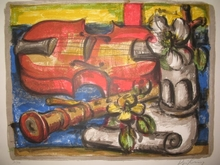 Franz PRIKING - Grabado - Nature morte au violon,1963.