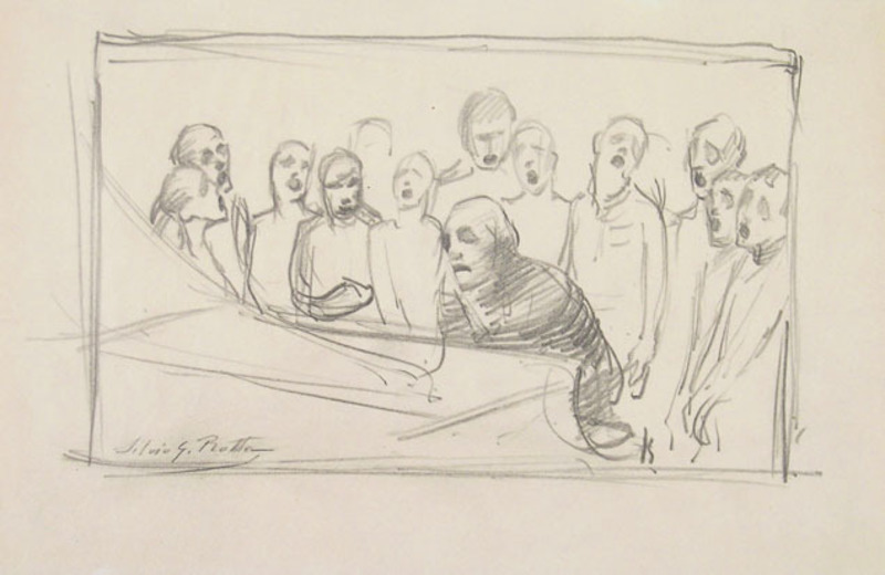 Silvio Giulio ROTTA - Drawing-Watercolor - CHORUS SINGERS AND PIANIST