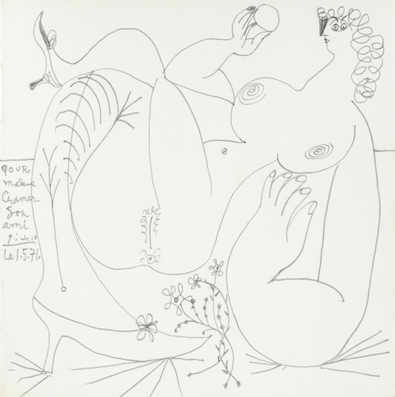 Pablo PICASSO - Drawing-Watercolor - Nu allongé, les jambes croisées