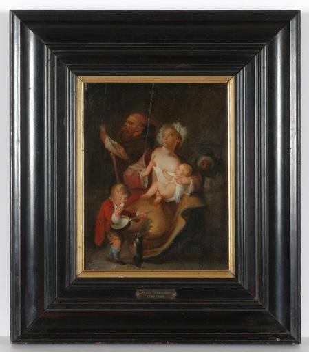 "Jean-Baptiste I CHARPENTIER (Attrib.) - Painting - Genre Scene"" oil on panel, 2. H. of the 18th Century"