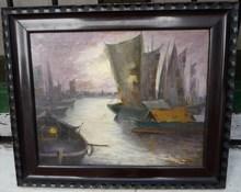 Julián IBAÑEZ DE ALDECOA Y ARANO - Painting - (98) MARINA NOCTURNA