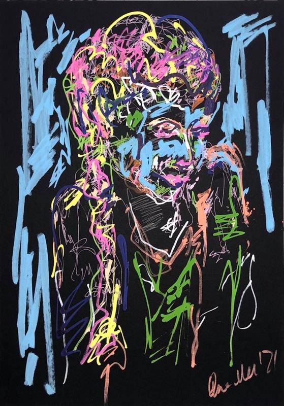 Nicole LEIDENFROST - Gemälde - Mädchen mit Zöpfen - bunt