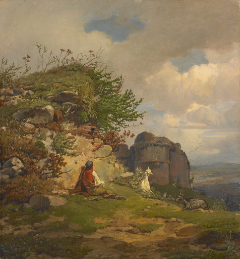 Franz Seraph VON LENBACH - Painting - Am Felshang rastender Hirte mit Ziegen vor einer Ruine.