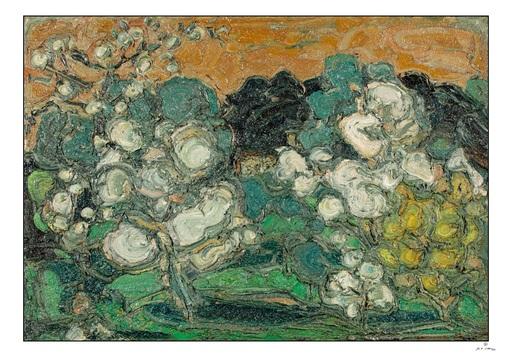 André COTTAVOZ - Gemälde - Le Printemps - arbres en fleurs
