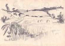 Robert Antoine PINCHON - Dibujo Acuarela - Paysage