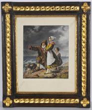 "Carl VON BLAAS - Drawing-Watercolor - ""Waiting on fishers"", 1838"