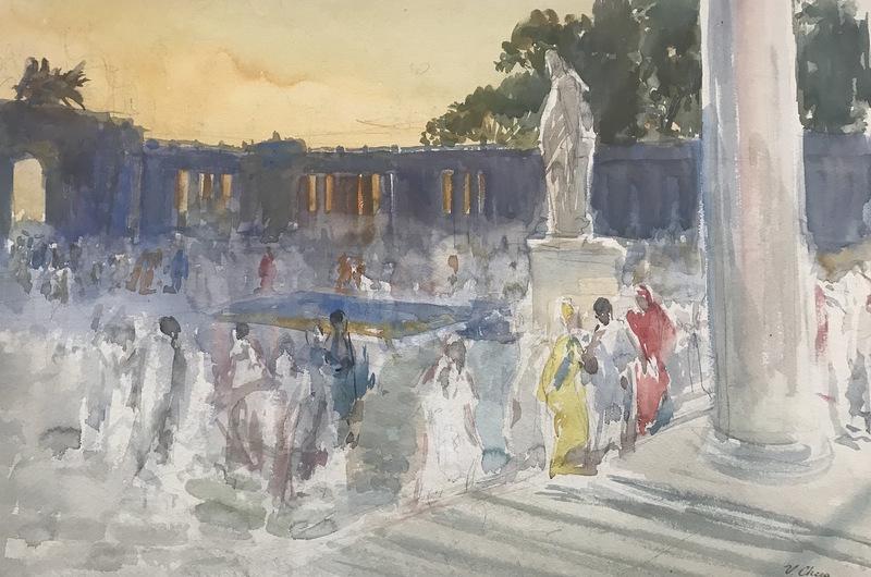 Ulpiano CHECA Y SANZ - Drawing-Watercolor - Quo Vadis ? Fête romaine à Pompéi