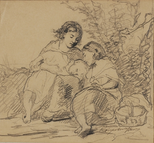 """Henri Joseph CAMPOTOSTO - Drawing-Watercolor - """"Resting Children"""" by Henry Campotosto, late 19th century"""