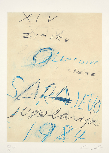"Cy TWOMBLY - Estampe-Multiple - Sarajevo, aus ""Art and Sports"""