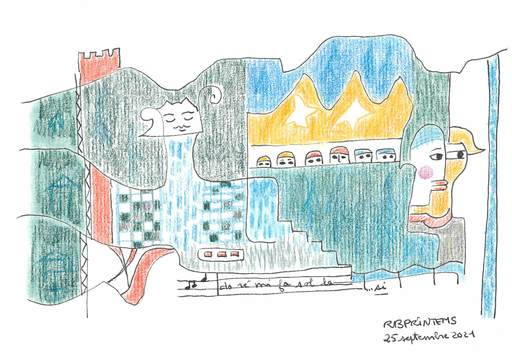 Reine BUD-PRINTEMS - Zeichnung Aquarell - Do ré mi fa sol la si