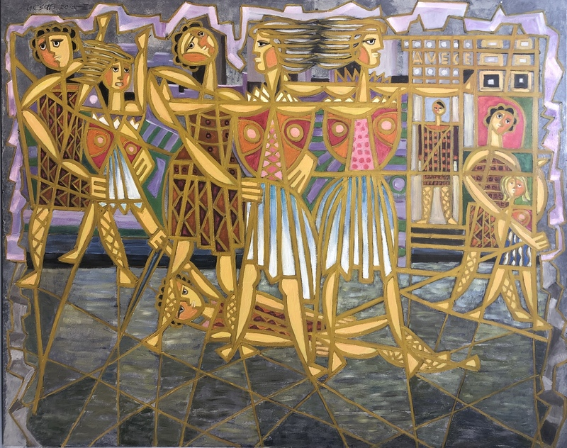 Charles SUCSAN - Painting - Rapture of the Sabines