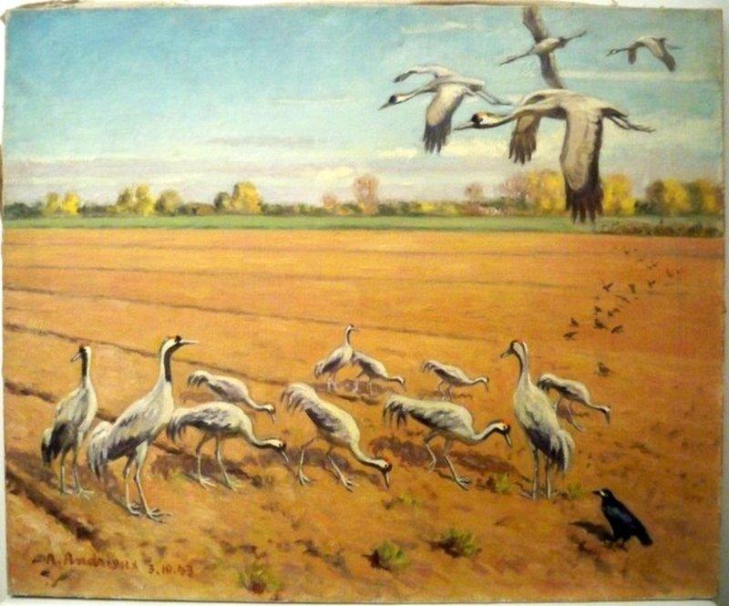 Alfred Louis ANDRIEUX - Painting - les Grues en Maraude ....1943