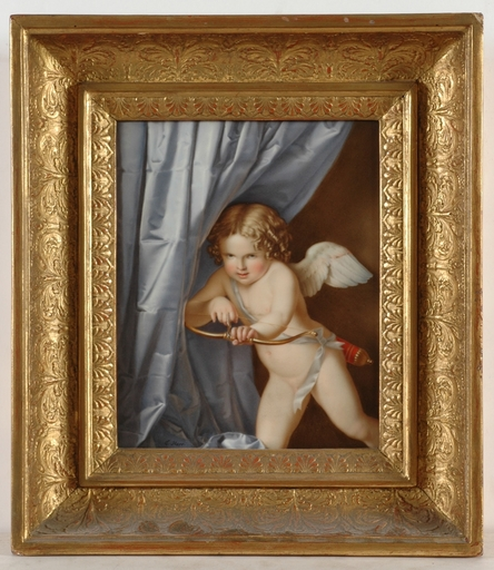 """Claudius HERR - Pittura - """"Cupid as archer"""" important porcelain painting!"""