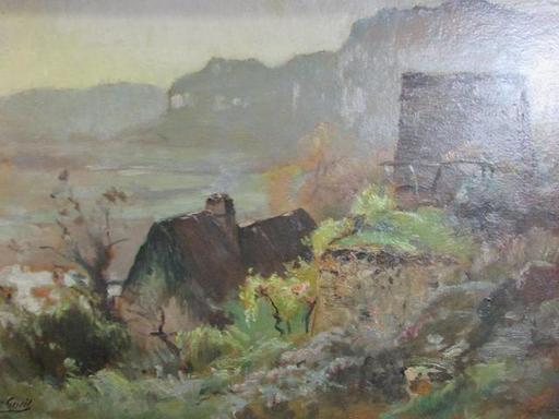 Louis Marius GUEIT - Pintura - paysage aux chaumières