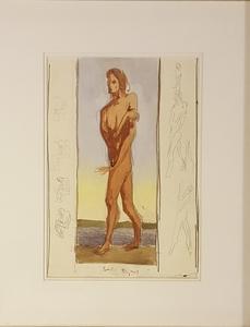 Albert SCHMIDT - Dibujo Acuarela - homme debout