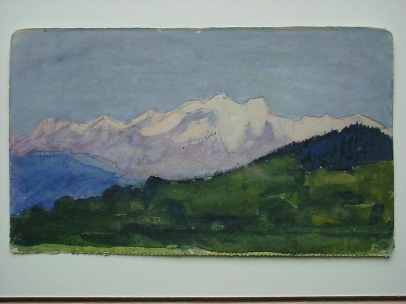 Charles Constantine HOFFBAUER - Dibujo Acuarela - Alpine Scene