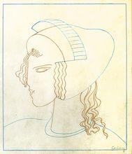 Joseph CSAKY - Drawing-Watercolor - Art Deco Head, circa 1930